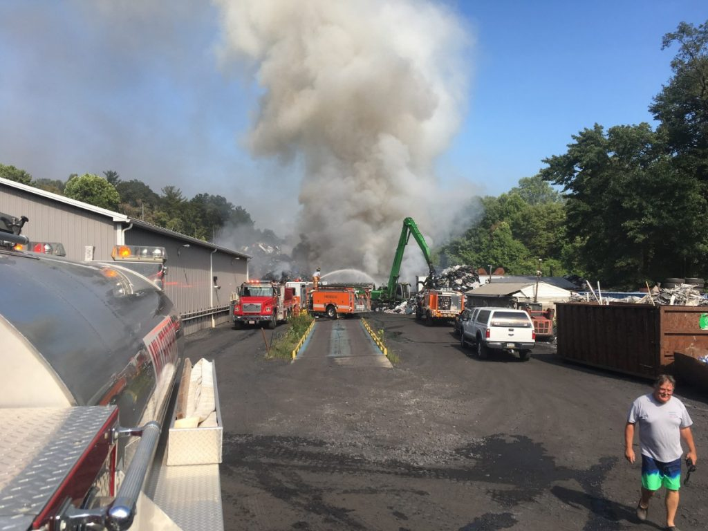 TANKER 20 RESPONDS TO SALVAGE YARD FIRE IN WICONISCO